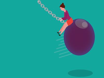 She came back with a wrecking ball girl work ball funny illustration digital art graphic design illustrator