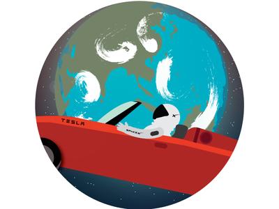 SpaceX Starman on Tesla Roadster flat design graphic design illustrator space earth elon musk tesla roadster starman spacex