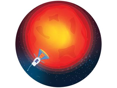 Parker Solar Probe parker solar probe flat design satellite sun scientist rocket astronaut spaceship graphic design illustrator nasa