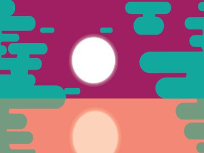Sunset flat design motion art graphic design illustrator reflection sunset