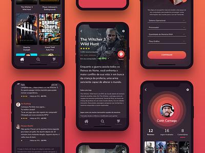 Game App - Framerate red dark mode dark app dark ui fps videogame games steam game app ux uidesign svg ui design
