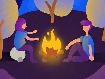 Fireplace procreateapp yellow blue purple fireplace illustration nature illustration illustration art procreate art procreate app procreate vector svg illustration design