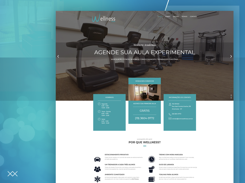 Hero Wellness Academia landing page green blue and white gym exercise exercício academia blue webdesign uidesign page landing ui design