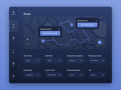 Car Course - Tablet Dashboard Interface ux ui design car interface car dashboard automobile dashboard automobile dashboard dailyui dark dark ui dark blue tablet app ipad app car car app ipad tablet