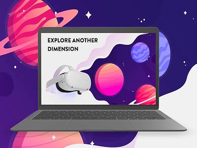 OCULUS website redesign illustration planets space webdesign website web adobe xd uxdesign ui ux vr oculus