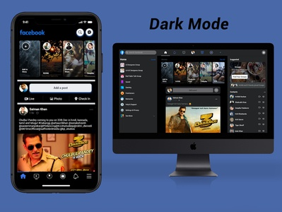 Facebook Redesign Concept Dark Mode