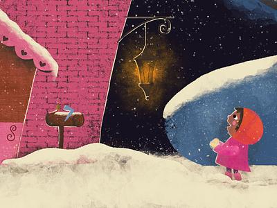 Discovering the gingerbread house photoshop digitalart texture flat design kids art kids book illustration