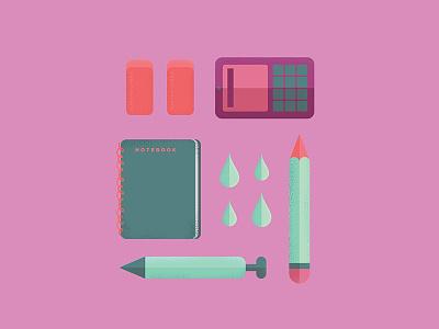 Art Tools lineart color design flatdesign iconography icon flat design texture illustration