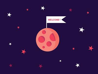 Moon flatdesign icon color lineart texture tutorial vector