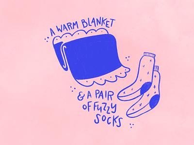 A few of my fav things: winter edition hand lettering hand drawn blanket socks illustration