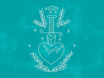 Striking the Heart lineart monoline color flatdesign lineart texture illustration