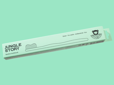 Jungle Story bamboo toothbrush packaging design