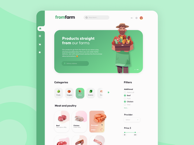 Website for FromFarm (Food Delivery) flat food delivery web minimal ux design ui