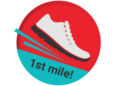 First Mile running fitness shoe badge gamification 1st first mile