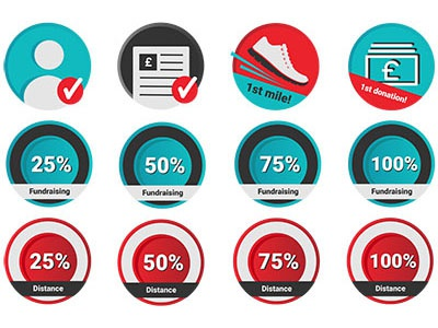 Website Badges donations fitness profile complete distance fundraising badges gamification