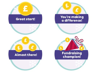 Gamification Badges Fundraising fundraise illustration gaming pound coins coins snowflakes fundraising badges gamification