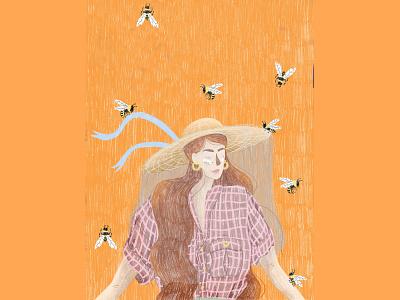 Beekeeper editorial illustration illustration digital art feminine procreate beekeeping editorial art portrait illustration beekeeper bees