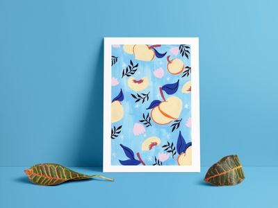 Sweet Peaches cute art illustration pattern packaging colourful design peaches food illustration painting posca traditional art print design surface pattern design pattern design
