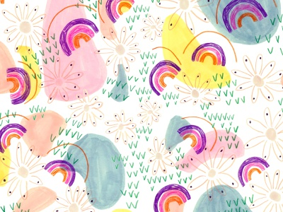 Rainbow Days childrens illustration textile design editorial illustration art flowers mixed media colored pencils promarker abstract art print design surface pattern illustration art illustration