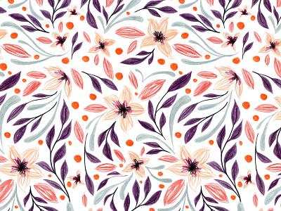 Gwendolyn flowers cute art packagingdesign editorial illustration traditional art illustration pattern design surfacepatterndesign floral pattern colored pencils