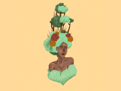Tree Girl Character dtys women in illustration plant girl feminine digital illustration charcater women fashion girl portrait cute digital procreate illustration