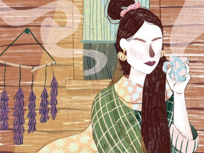Witches Cabin character portrait feminine illustration design illustrations cozy vibes autumn magazine illustration editorial illustration characterdesign illustration