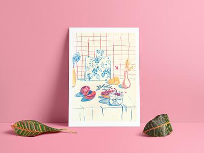 Marine kitchen design vibrant color food illustration recipe coloredpencils artist editorial illustration traditional art illustration homedesign homedecor still life