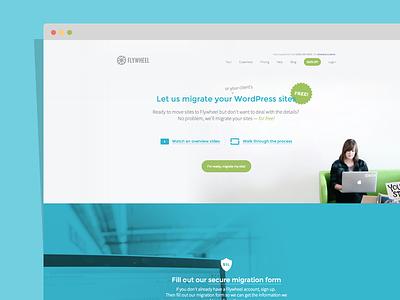 Flywheel Free Migrations Landing Page video background video background photos landing page badge walkthrough steps