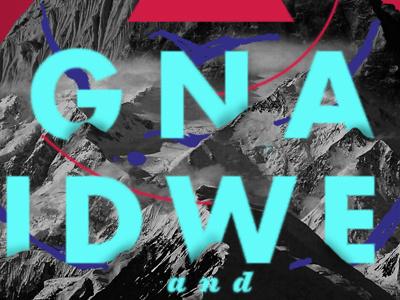 Dikembe / Signals Midwest Summer 2013 Tour Poster photo hand-drawn futura mountains ziggurat