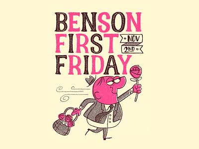 Benson First Friday Poster procreate illustration character poster design poster character design retro art artwork cartoon typography