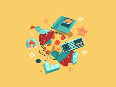 NES Sleepover affinity designer gaming game retro games nintendo vector illustration vector art yellow video games artwork vector illustration