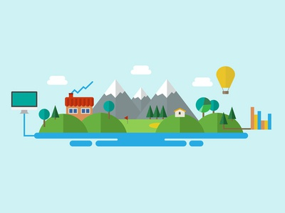 Outdoor Control clouds house hot air balloon lake trees abstract mountains outdoors web design illustration design flat