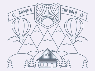 Camping Poster tree cabin balloon illustrator illustration poster simple flat line outdoor camping