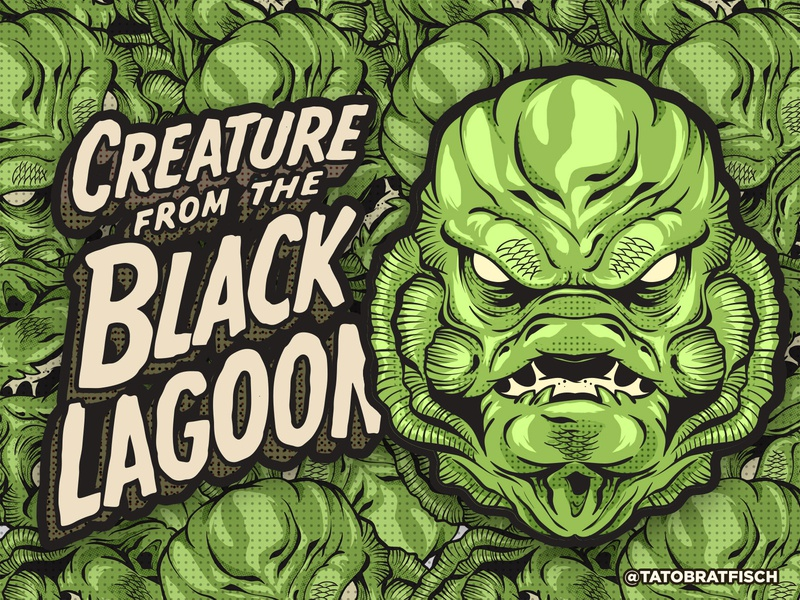 Creature from the Black Lagoon moster photoshop vector art illustration