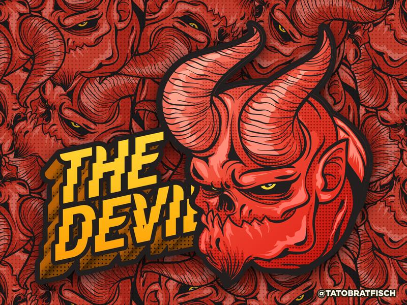 The Devil monster photoshop vector art illustration