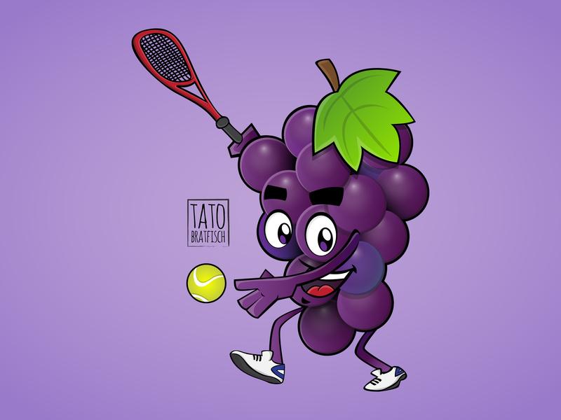 Sports grape fruit vector art illustraion juice grape sport