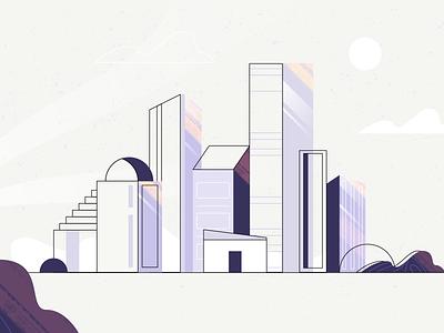 Techshelf City video explainer brazilero building rose violet town city graphic graphics creative art illustration design artists illustration