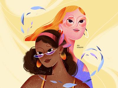 THE WIND pic graphic design stars yellow pink girls wind paper graphics art illustration design artists illustration logo