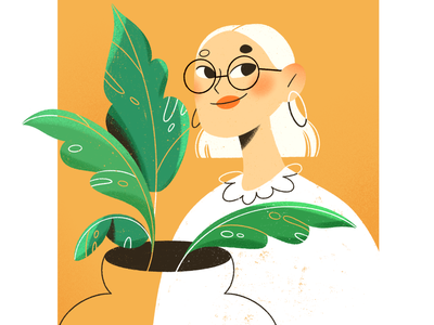 GIRL WITH PLANTS yellow monstera plants green hair shorthair face girl drawing procreate graphic art illustration design artists illustration