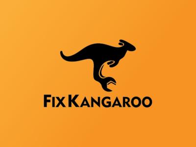Fix Kangaroo Logo repair garage constructions screw bolt monkey wrench repairs wrench mascot animal jump australia kangaroo fix