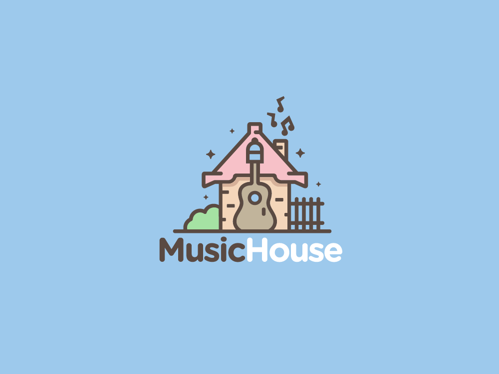 Music House production musical notes garden feminine cute sound acoustic guitar logo design logo for sale logo entertainment music house home