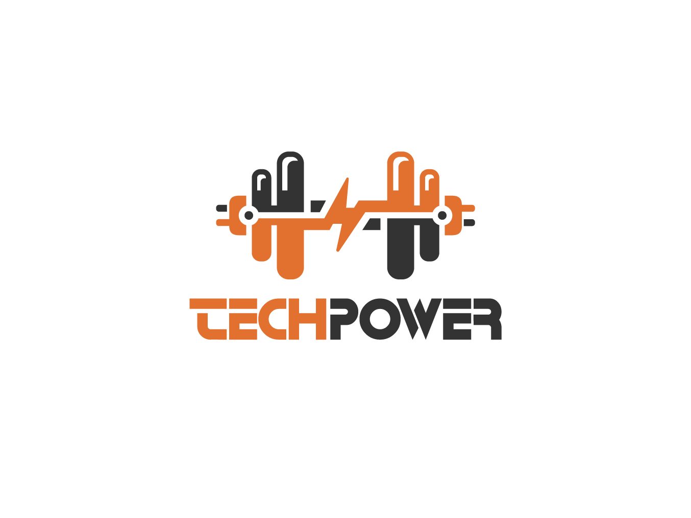Logo Design - Tech Power weight strong logos technology design logo design logo training data sport application computing tech software fitness dumbbell gym