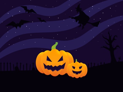 Halloween pumpkins 🎃 illustrator rip helloween stars cemetery bat witch mistery weeklywarmup pumpkin illustration vector dribbble