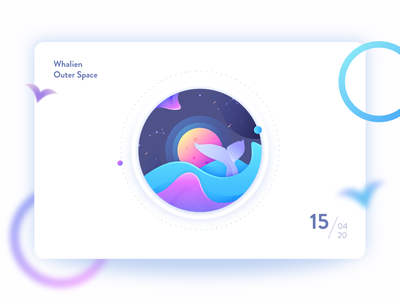Whalien Illustration illustration whale logo whales whalien outer space whale