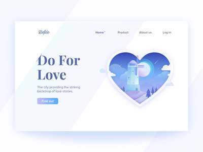 Liefde Landing Page vector hero image hero banner illustration landing page heart windmill