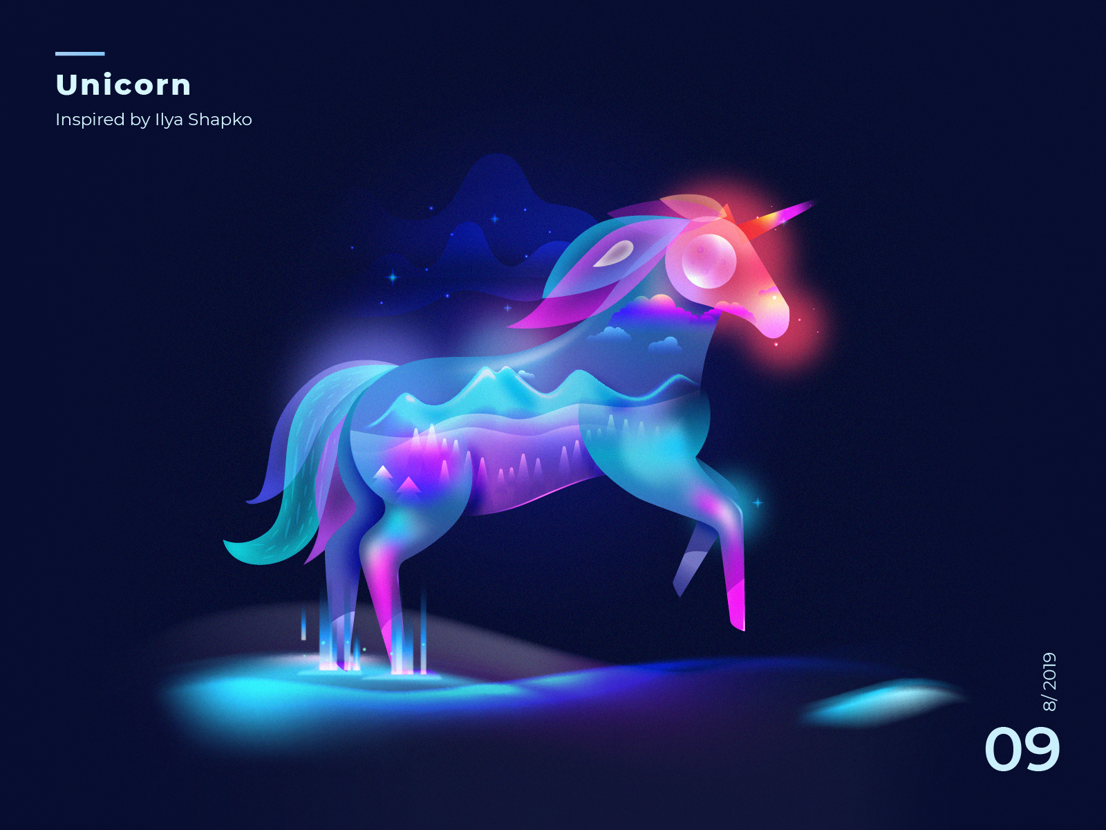 Unicorn Fantasy Light fantasyart unicornvision dark mode light fantasy unicorn