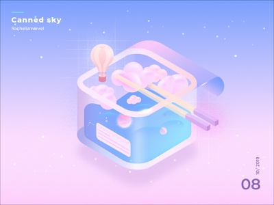 Canned Sky galaxy sky box noodle design graphic isometric illustration