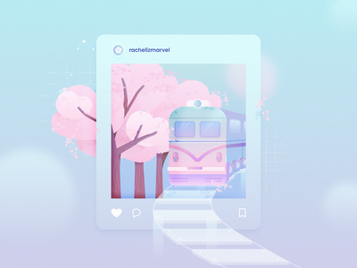Cherry Blossom train cherry blossom cherry blossoms cherryblossom cherry illustration