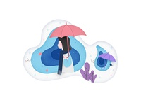 Girl in Umbrella Illustration