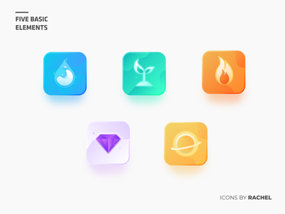 Icon set - Five Basic Elements icon set icon icons wood earth metal fire water five basic element